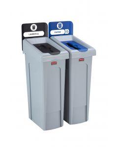 Slim Jim Recycling Station. 2 Stream - Black/Blue