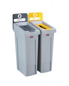 Slim Jim Recycling Station. 2 Stream - Grey/Yellow