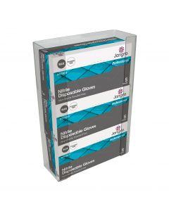 Triple Glove Box Holder, Transparent Plastic